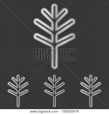 Silver line plant logo design set