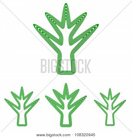 Green line tree logo design set