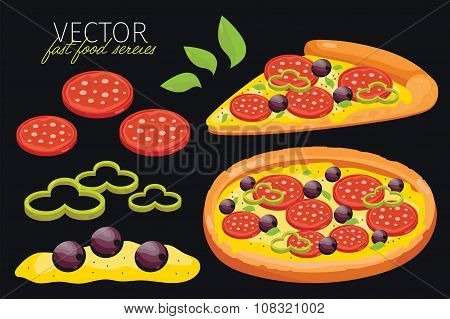 Isolated vector pepperoni pizza. Fast food set.