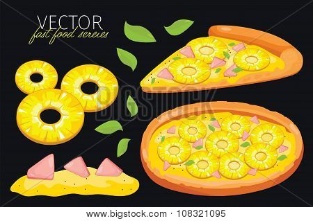 Isolated vector pineapple pizza. Fast food set.
