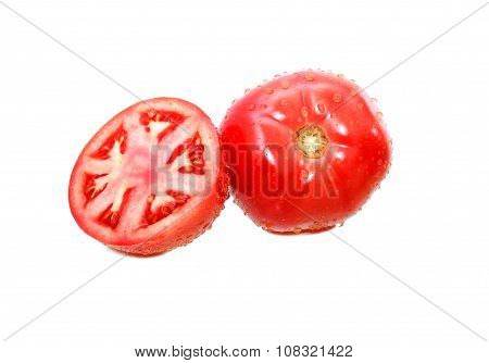 Wet Tomatoes On White
