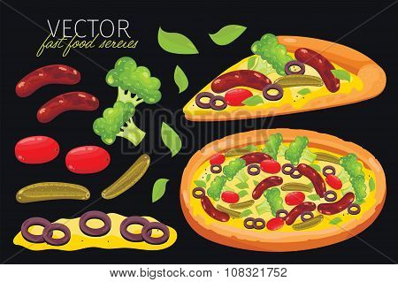 Isolated vector sausage pizza. Fast food set.