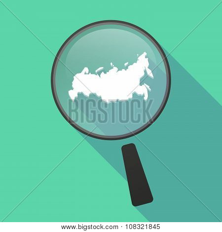 Long Shadow Magnifier Vector Icon With  A Map Of Russia