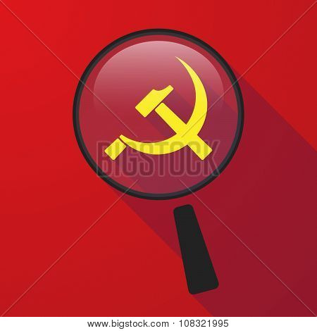 Long Shadow Magnifier Vector Icon With  The Communist Symbol