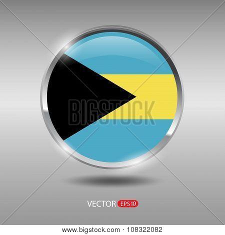 Shiny, glossy vector badge with Bahamas flag