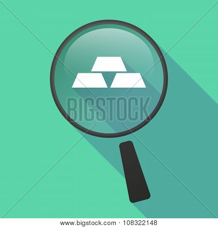 Long Shadow Magnifier Vector Icon With Three Gold Bullions