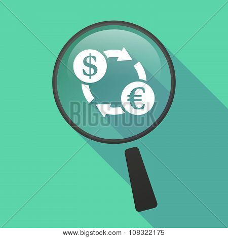 Long Shadow Magnifier Vector Icon With A Dollar Euro Exchange Sign