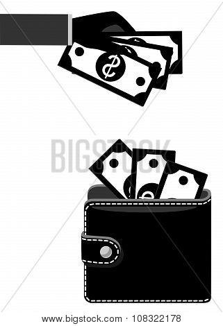 Money In Purse Black