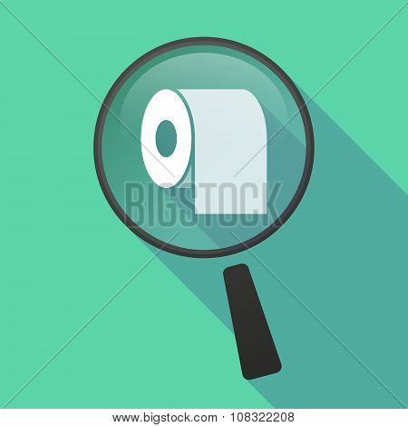 Long Shadow Magnifier Vector Icon With A Toilet Paper Roll
