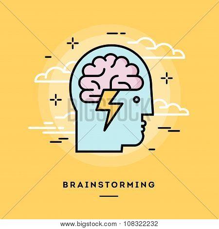 Concept Of Brainstorming, Line Flat Design Banner