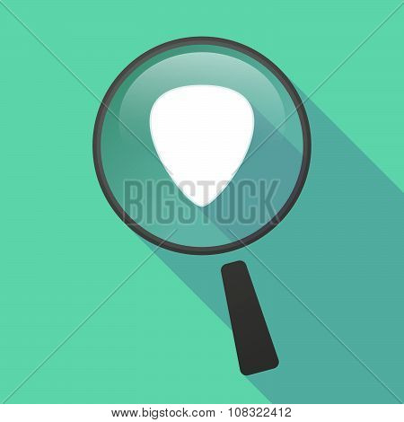 Long Shadow Magnifier Vector Icon With A Plectrum