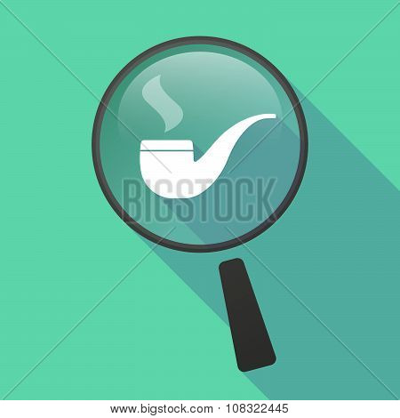 Long Shadow Magnifier Vector Icon With A Smoking Pipe