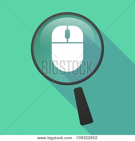 Long Shadow Magnifier Vector Icon With A Wireless Mouse