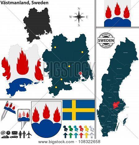 Map Of Vastmanland, Sweden