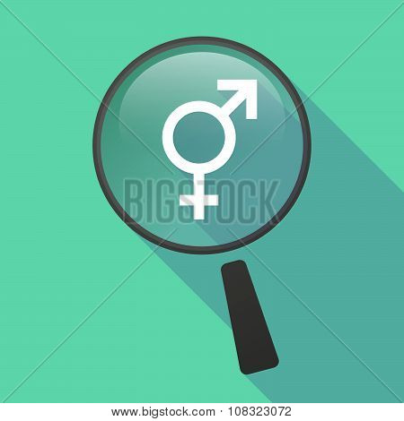 Long Shadow Magnifier Vector Icon With A Transgender Symbol