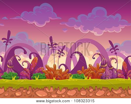 Cartoon fantasy vector seamless landscape