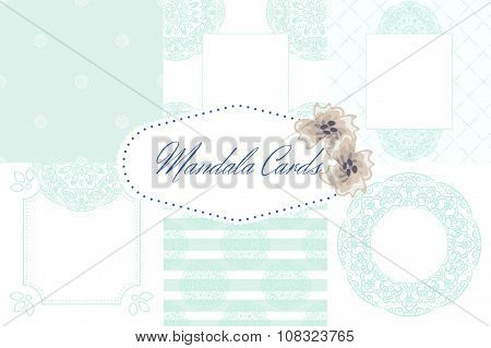 Light blue mandala card template set background.