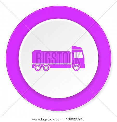 truck violet pink circle 3d modern flat design icon on white background
