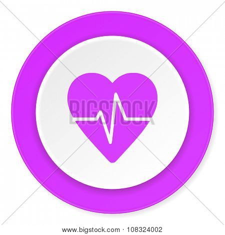 pulse violet pink circle 3d modern flat design icon on white background
