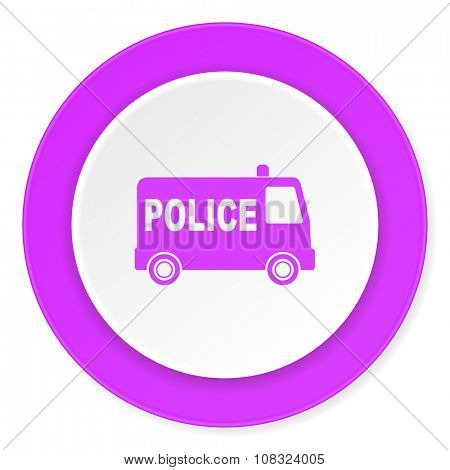 police violet pink circle 3d modern flat design icon on white background