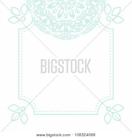 Light blue mandala card template background.