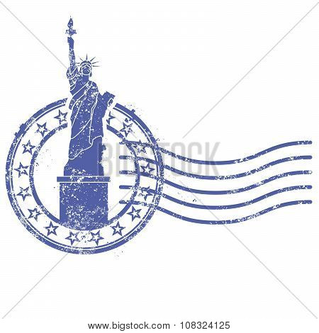 Grunge round stamp with Statue of Liberty - landmark of New York and USA