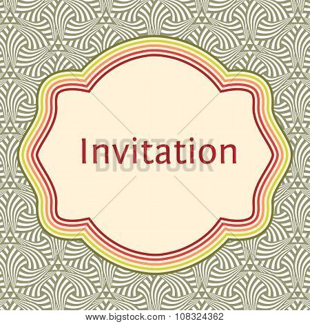 Invitation, Wedding Or Greeting Card Template. Elegant Frame Over Pattern Background Design