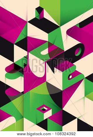 Isometric abstraction in color. Vector illustration.