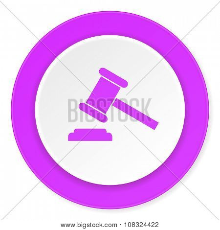 auction violet pink circle 3d modern flat design icon on white background