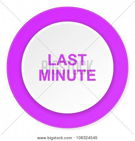 last minute violet pink circle 3d modern flat design icon on white background