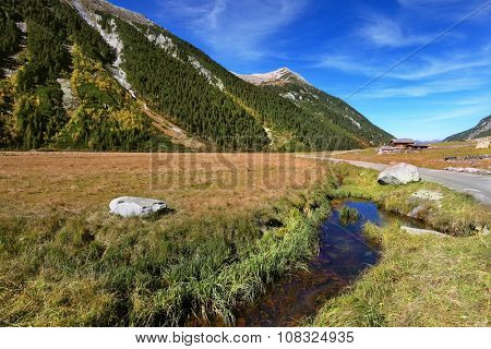 Quick stream of clear water flowing in the middle of the canyon.  Hillsides picturesque alpine valley covered with thick coniferous forest