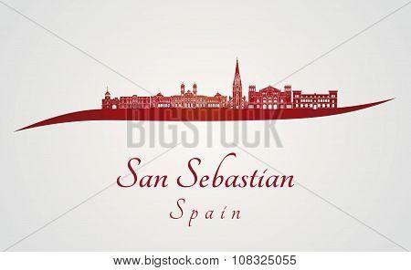 San Sebastian Skyline In Red