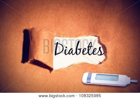 diabetes against directly above shot of torn paper