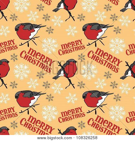 Merry Christmas. Bullfinches and snowflakes. Vector seamless illustration (background).