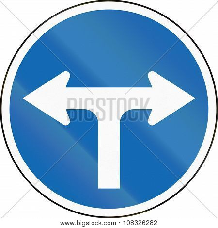 New Zealand Road Sign Rg-11 - Turn, Do Not Proceed Forward