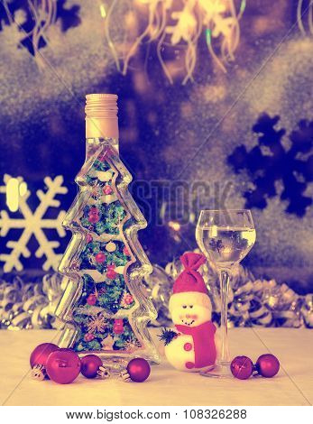 Christmas Snowman, Christmas Toys, Alcohol, Retro, Old Style,