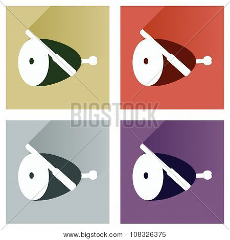 Vector set flat icons with long shadow ham and knife