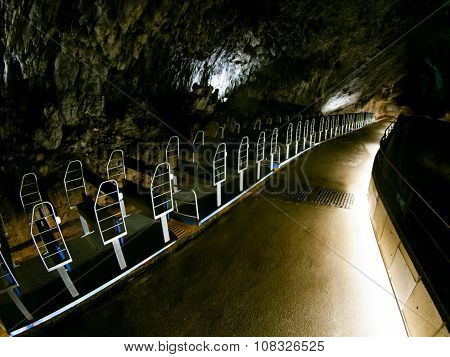 Tourist train in Postojna cave