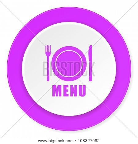 menu violet pink circle 3d modern flat design icon on white background