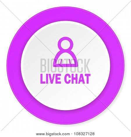 live chat violet pink circle 3d modern flat design icon on white background