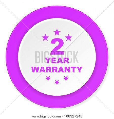warranty guarantee 2 year violet pink circle 3d modern flat design icon on white background