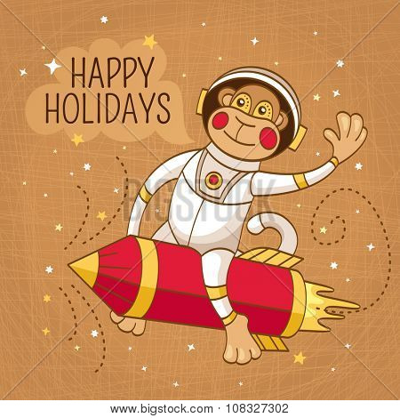 Vintage greeting card with a monkey astronaut on a rocket vector illustration