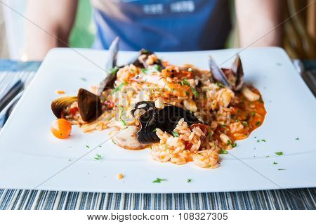 Frutti Di Mare Risotto With Variety Of Seafood