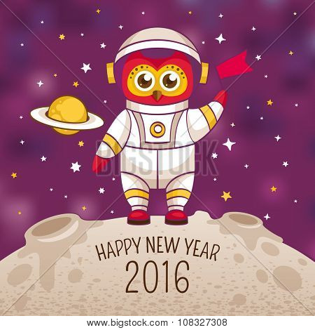 New Year greeting card with owl astronaut in a human space suit, vector illustration, contains gradient mesh