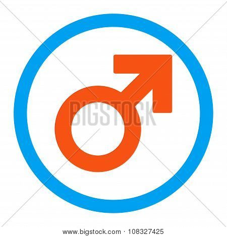 Male Symbol Rounded Glyph Icon