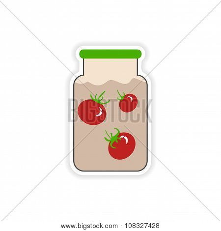 stylish paper sticker on a white background canned tomatoes