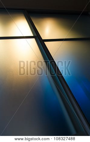 Semi-transparent Matte Glass Pane With Colored Lights