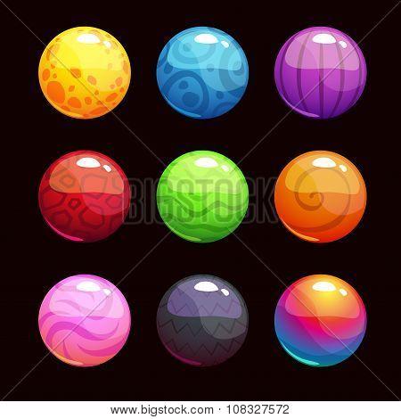 Funny cartoon colorful shiny bubbles