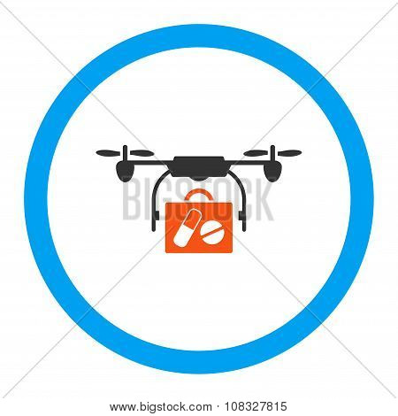 Medical Drone Shipment Rounded Glyph Icon