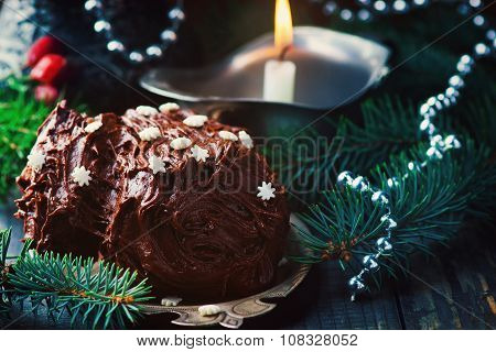 Yule Log On A Christmas Background.